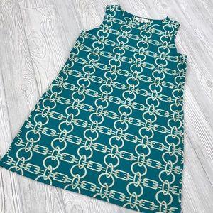 Aryeh Teal Chain Shift Dress - sz M